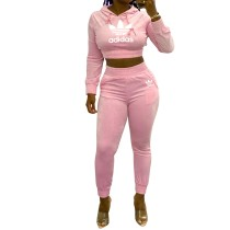 Solid Color Pink Brands Women Printed Letter Two Piece Hooded Set