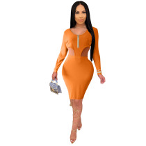 Solid Color Orange Knitted Ribbed Zippered Nightclub Dress with Hollow