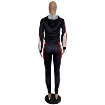 Casual Black Printed Pattern Sweatpants Hoodie Two Piece Women Sets