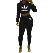 Solid Color Black Brands Women Printed Letter Two Piece Hooded Set