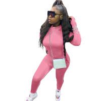 Pink Decorative Edge Patchwork Bodycon Jumpsuit