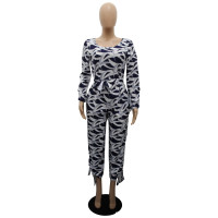 Fall Long Sleeve Leaf Printed Jumpsuit with Pockets