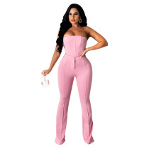 Sexy Pink Two Piece Outfit Women Party Club Matching Strapless Crop Tops Flared Trousers