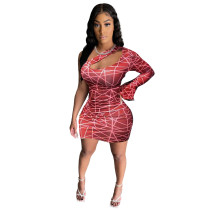 Nightclub Single Shoulder Sexy Hollow Club Dress
