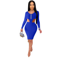 Solid Color Blue Knitted Ribbed Zippered Nightclub Dress with Hollow