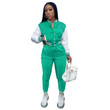 Women's Mint Green Color-blocking Jacket Suit Single-breasted Stitching Baseball Two Piece Uniform