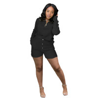 Black Women Knit Waffle Pajamas Set Loungewear Pant Set