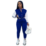 Women's Blue Color-blocking Jacket Suit Single-breasted Stitching Baseball Two Piece Uniform