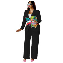 Casual Black Printed Two Piece Suits Set 2021 Pantsuit Female Suits For Prom