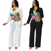 Casual White Printed Two Piece Suits Set 2021 Pantsuit Female Suits For Prom