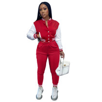 Women's Red Color-blocking Jacket Suit Single-breasted Stitching Baseball Two Piece Uniform