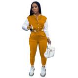 Women's Orange Color-blocking Jacket Suit Single-breasted Stitching Baseball Two Piece Uniform