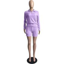Purple Women Knit Waffle Pajamas Set Loungewear Pant Set