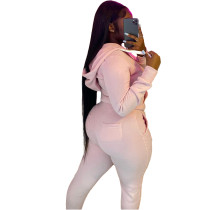 Casual Pink Fleece Sports Thick Zipper Hooded Two Piece Set For Women