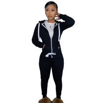 Casual Black Fleece Sports Thick Zipper Hooded Two Piece Set For Women