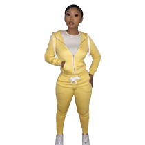 Casual Yellow Fleece Sports Thick Zipper Hooded Two Piece Set For Women