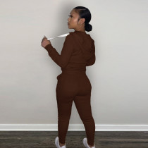 Casual Dark Brown Fleece Sports Thick Zipper Hooded Two Piece Set For Women