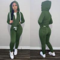 Casual Green Fleece Sports Thick Zipper Hooded Two Piece Set For Women