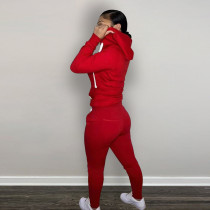 Casual Red Fleece Sports Thick Zipper Hooded Two Piece Set For Women