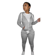 Casual Grey Fleece Sports Thick Zipper Hooded Two Piece Set For Women
