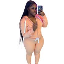 Casual Orange Fleece Sports Thick Zipper Hooded Two Piece Set For Women