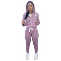 Casual Purple Fleece Sports Thick Zipper Hooded Two Piece Set For Women