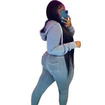 Casual Blue Fleece Sports Thick Zipper Hooded Two Piece Set For Women