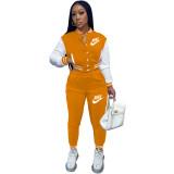 Casual Orange Offset Printed Letter Baseball Uniform Long Sleeve Jacket Set with Pockets