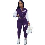 Casual Purple Offset Printed Letter Baseball Uniform Long Sleeve Jacket Set with Pockets