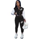 Casual Black Offset Printed Letter Baseball Uniform Long Sleeve Jacket Set with Pockets