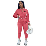 Women's Pink Embroidered Jacket Suits Solid Color Single-breasted Baseball Uniform Two Piece Outfits