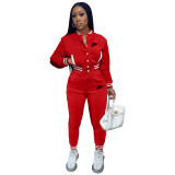 Women's Red Embroidered Jacket Suits Solid Color Single-breasted Baseball Uniform Two Piece Outfits