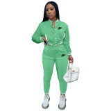 Women's Green Embroidered Jacket Suits Solid Color Single-breasted Baseball Uniform Two Piece Outfits