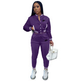 Women's Purple Embroidered Jacket Suits Solid Color Single-breasted Baseball Uniform Two Piece Outfits