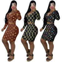 Casual Designer Clothes Printed Letter V Neck Zipper Crop Top Midi Skirts Set