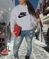 Cotton Casual Grey Printed Sweatshirt Top