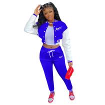 Blue Colorblock Jacket Single-breasted Alphabet Print Sports Baseball Uniform Sets with Pockets
