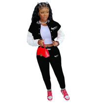 Black Colorblock Jacket Single-breasted Alphabet Print Sports Baseball Uniform Sets with Pockets