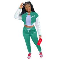 Green Colorblock Jacket Single-breasted Alphabet Print Sports Baseball Uniform Sets with Pockets
