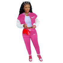 Rose Colorblock Jacket Single-breasted Alphabet Print Sports Baseball Uniform Sets with Pockets