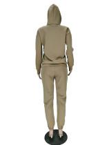 Casual Khaki Air Layer Letter Print Drawstring Hooded Sweatshirt Set with Pockets