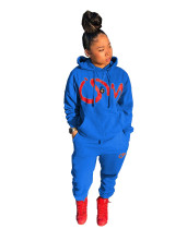 Casual Blue Air Layer Letter Print Drawstring Hooded Sweatshirt Set with Pockets