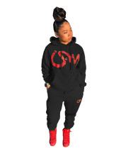 Casual Black Air Layer Letter Print Drawstring Hooded Sweatshirt Set with Pockets