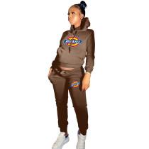 Winter Coffee Drawstring Sports Sweatshirt Hoodie Women Set with Pockets