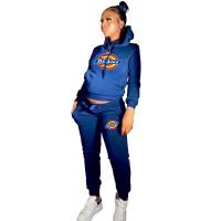 Winter Royal Blue Drawstring Sports Sweatshirt Hoodie Women Set with Pockets