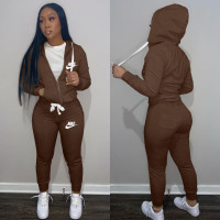 Casual Coffee Drawstring Twill Sweatsuit Women Sets Sports Printed Letter Hoodie Tracksuit Set