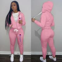 Autumn Winter Pink Drawstring Twill Sweatshirt Sports Printed Letter Hoodie Pant Set For Women