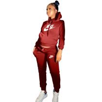 Winter Red Drawstring Sweatshirt Sports Hoodie Women Set with Pockets