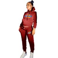 Winter Red Drawstring Sports Sweatshirt Hoodie Women Set with Pockets