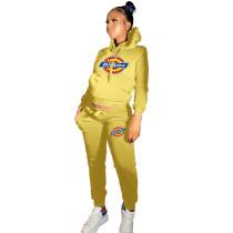 Winter Yellow Drawstring Sports Sweatshirt Hoodie Women Set with Pockets
